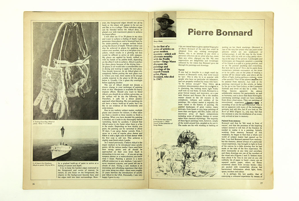 The Artist Magazine, February 1981. Sargy Mann Bonnard article. Spread 1.