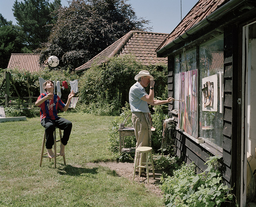 Sargy Mann (with Michael Mann) painting in the garden, Bungay