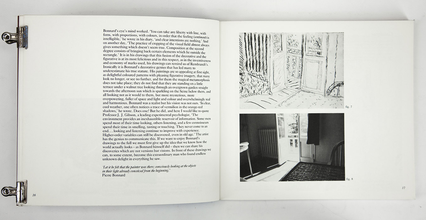 Bonnard Drawings at The Hayward Gallery, exhibition catalogue. Text 6