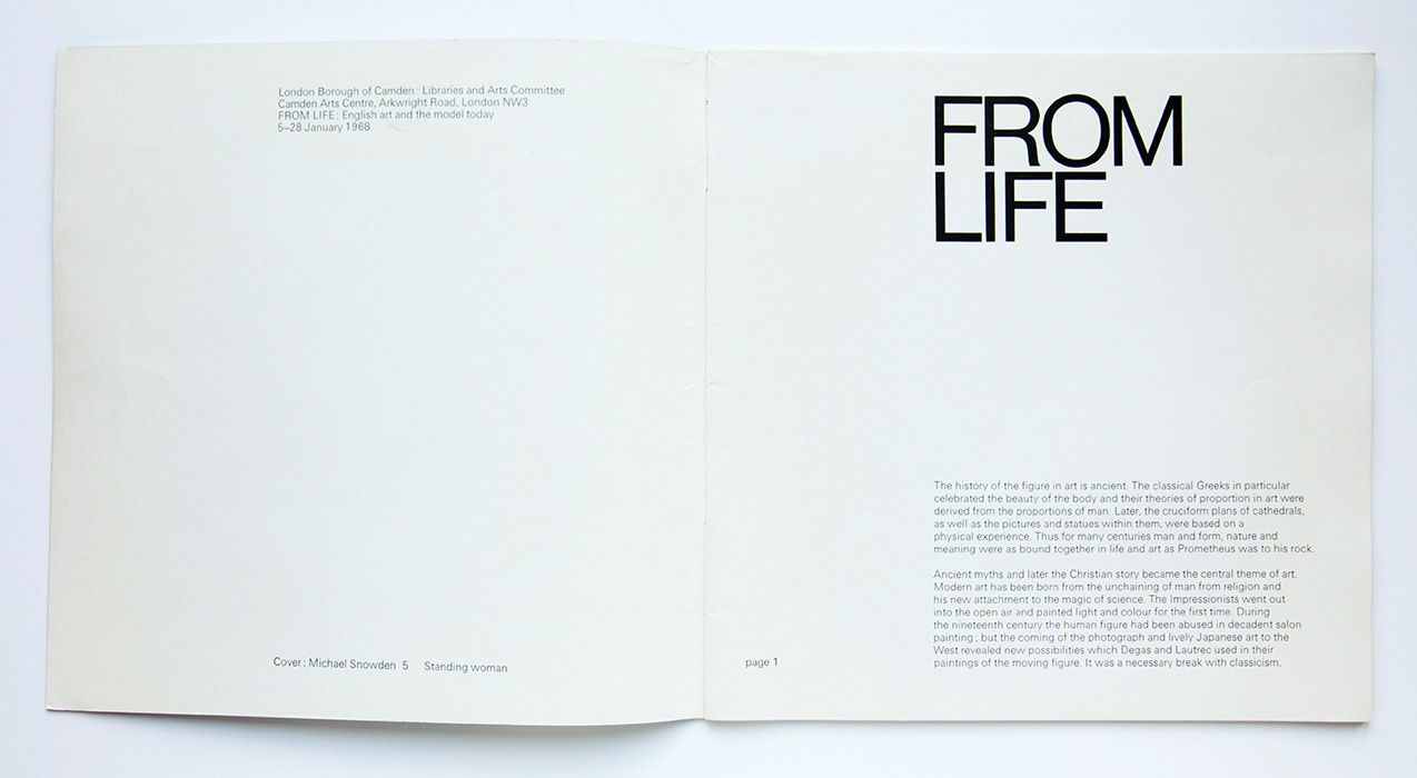 From Life, 1968, Camden Art's Centre, catalogue intro