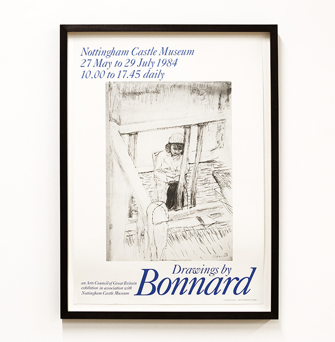 Poster for Bonnard drawings exhibition at Nottingham Castle Museum