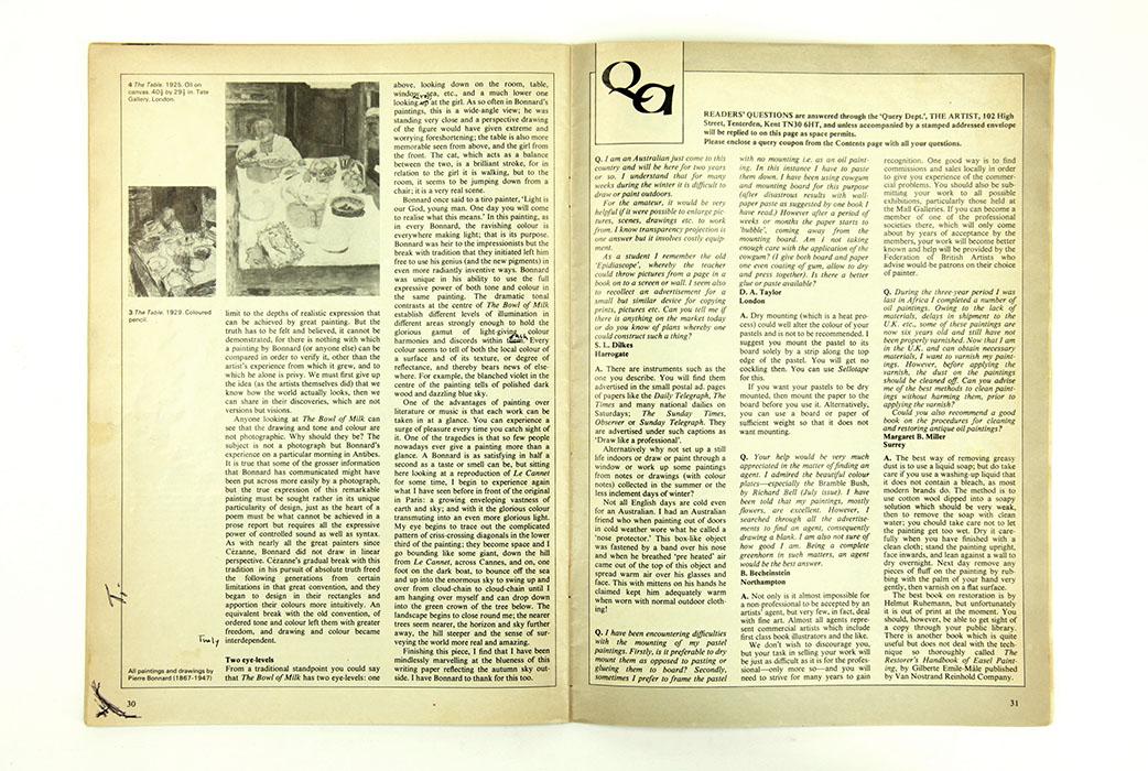 The Artist Magazine, February 1981. Sargy Mann Bonnard article. Spread 3.
