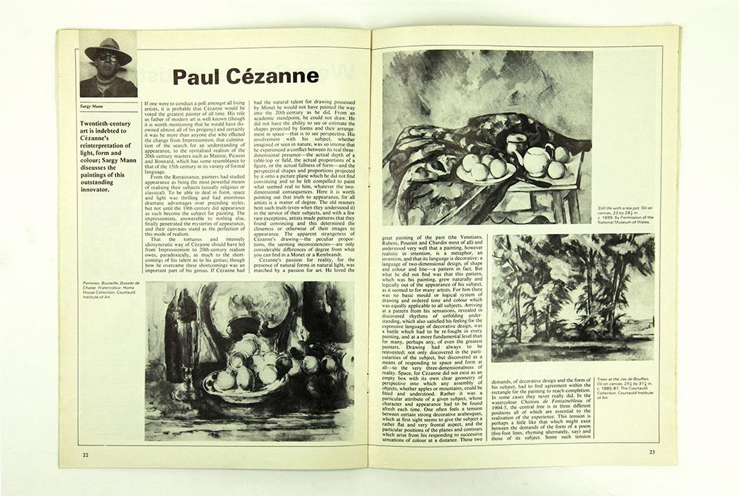 The Artist Magazine, June 1981. Sargy Mann essay on Paul Cezanne. Spread 1.