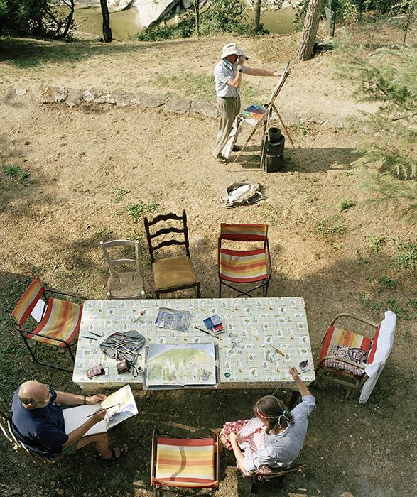 Sargy Mann (with Terry Raybould and Susanna Mann) in Borgo Pace, Italy.