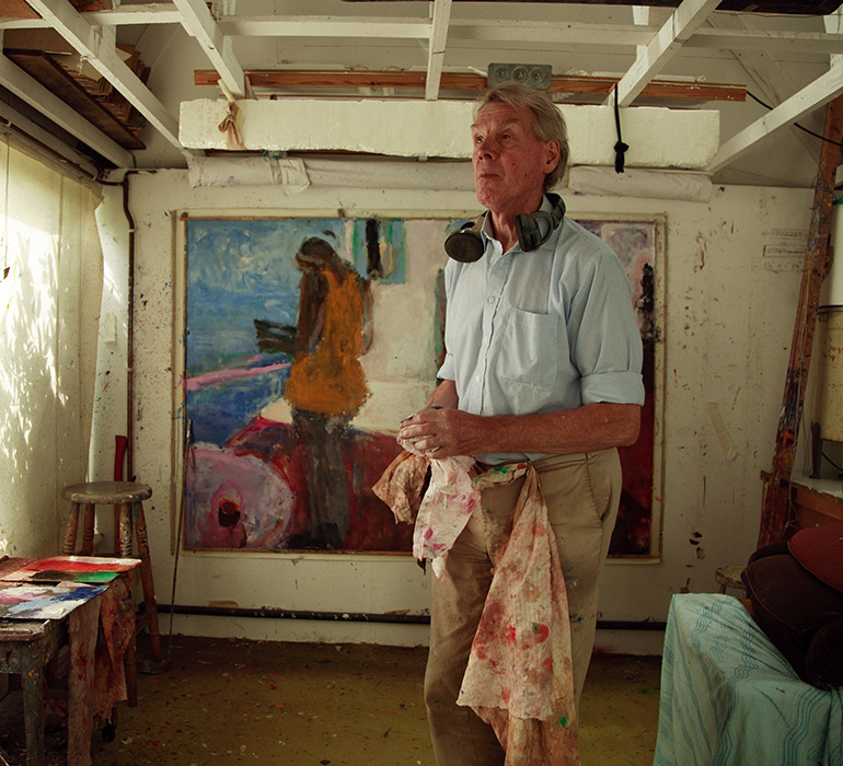 Sargy Mann painting 'Cafe Above the Sea' in his studio, Bungay, 2007
