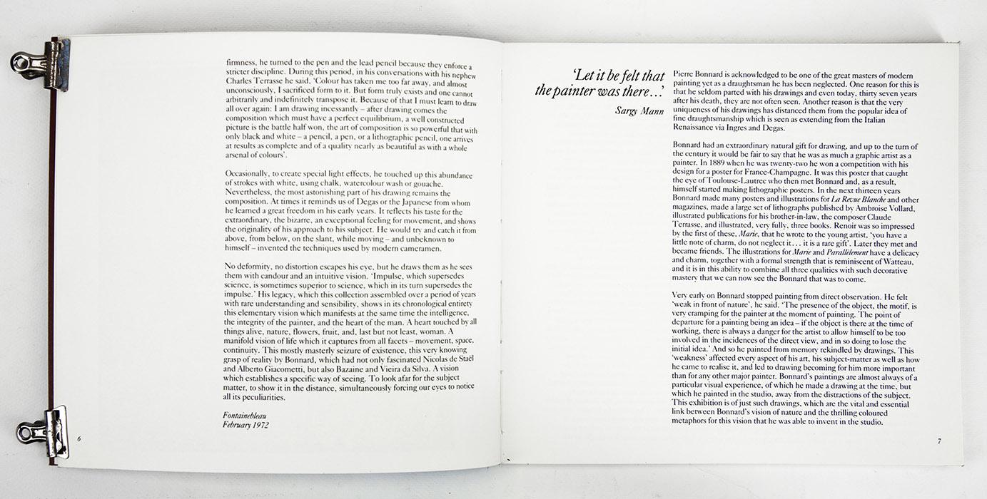 Bonnard Drawings at The Hayward Gallery, exhibition catalogue. Text 1