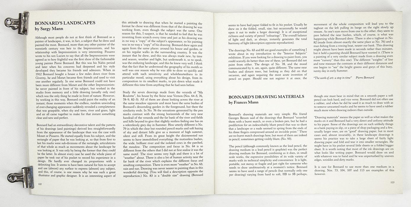 JPL Fine Art exhibition catalogue, Bonnard Drawings, text